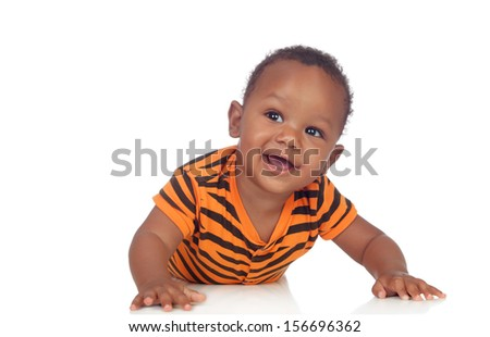 Adorable african baby lying on the floor isolated on a white background