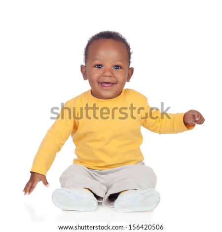 Adorable african baby sitting on the floor isolated on a white background - stock photo