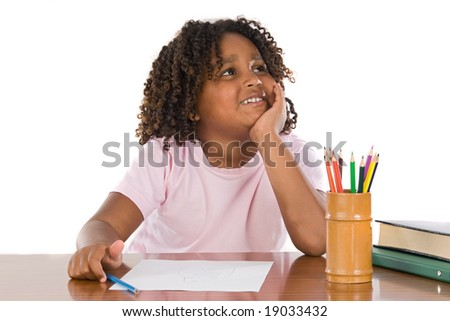 Adorable African girl thinking a over white background