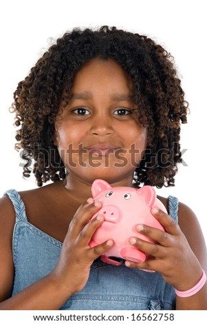adorable African girl with pink piggy bank in your hands - stock photo