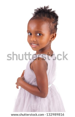 Adorable african little girl on white background - stock photo