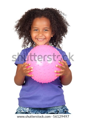 Adorable african little girl with pink ball isolated over white - stock photo