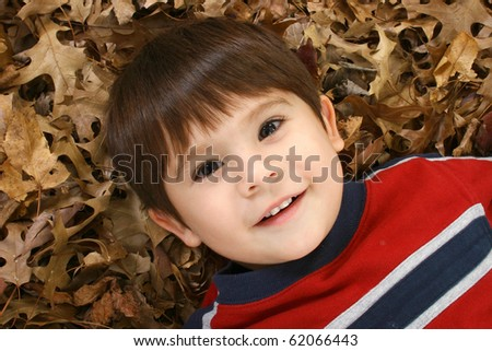 Adorable Asian American three year old laying in brown leaves.