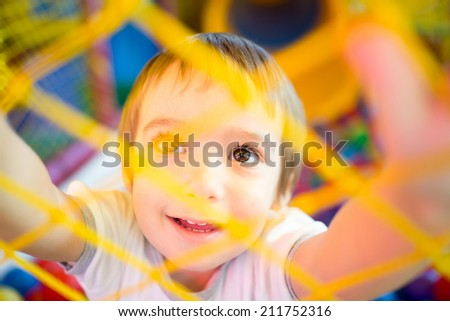 Adorable baby at playground - stock photo