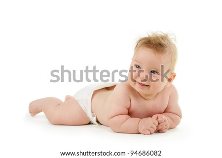 Adorable baby boy crawling isolated on white