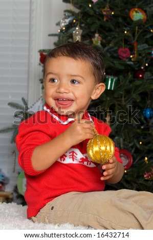 Adorable Baby Boy in Christmas Sweater - stock photo