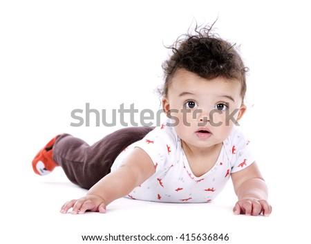 adorable baby boy posing on white studio background - stock photo