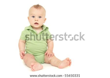 Adorable Baby Boy sitting, on white background - stock photo