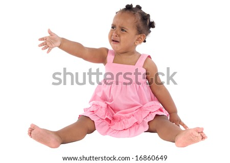 Adorable baby crying a over white background - stock photo