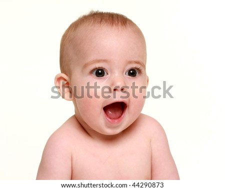 adorable baby face - stock photo