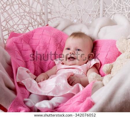 Adorable baby girl, closeup portrait - stock photo