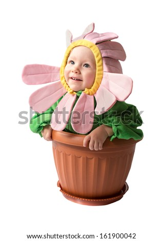Adorable baby girl, dressed in flower costume on white background  The concept of childhood and holiday - stock photo