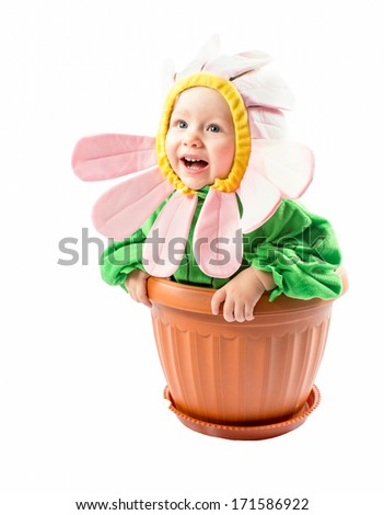 Adorable baby girl , dressed in flower costume on white background The concept of childhood and holiday - stock photo