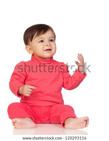 Adorable baby girl looking up isolated on white background - stock photo