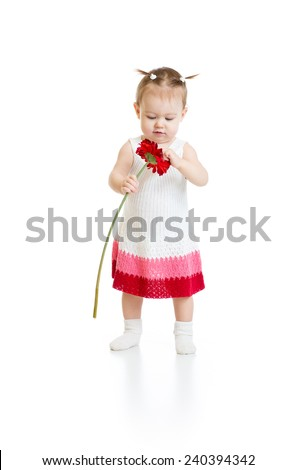 Adorable baby girl standing and looking to red flower isolated - stock photo