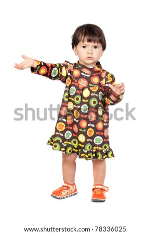 Adorable baby girl with a floral dress isolated on a over white background - stock photo