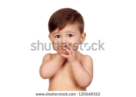 Adorable baby girl with the hands in her mouth isolated on white background - stock photo