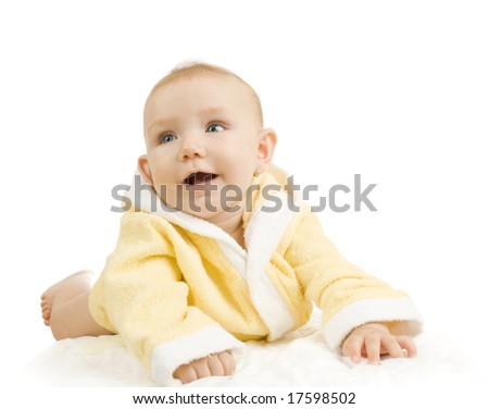 adorable baby girl with yellow bathrobe - stock photo