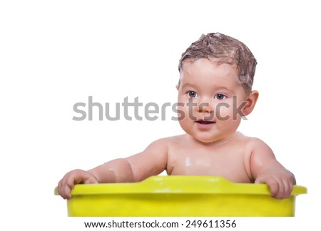 Adorable baby in the bathtub