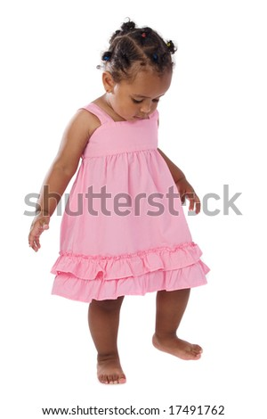 Adorable baby pink dressed a over white background - stock photo