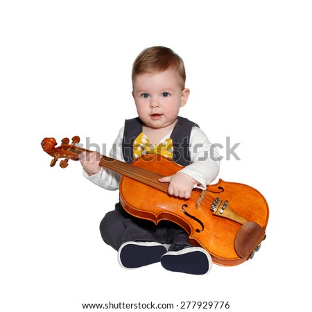 adorable baby playing violin .Wearing classic vest and colorful bowtie on white background - stock photo