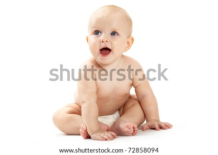 Adorable baby sitting and looking aside over white background - stock photo