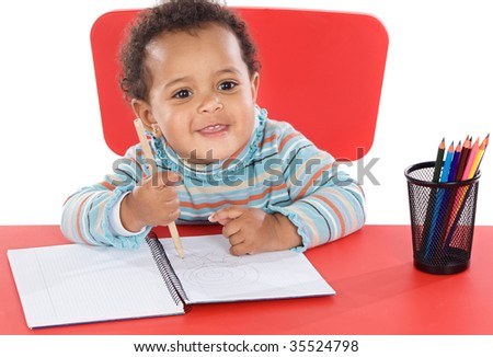 adorable baby student a over white background - stock photo