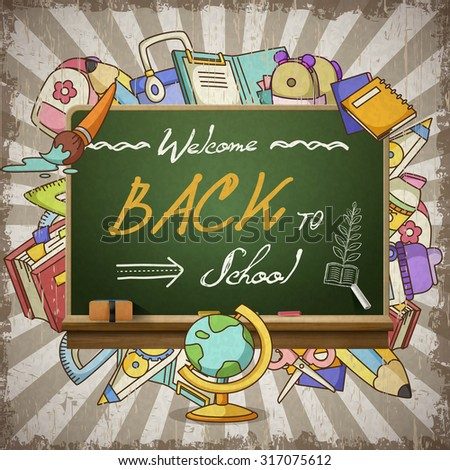 adorable back to school poster design template - stock photo