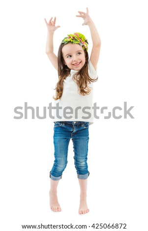 Adorable Ballerina  poses girl. kid fashion. White t-shirt and jeans. Catalog template for place brand logo ad or image information