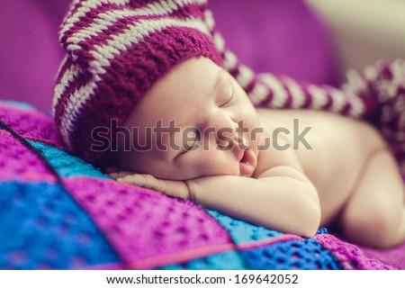 Adorable beautiful newborn baby - stock photo