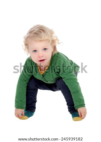 Adorable blond baby touching his feet isolated on a white background - stock photo