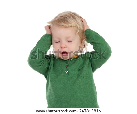 Adorable blond baby worried isolated on a white background - stock photo