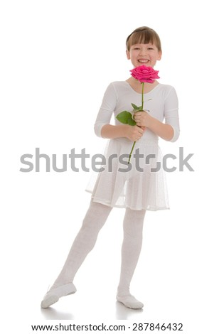 Adorable blonde girl in sports a white suit holding a big rose-isolated on white background - stock photo