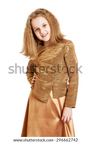 Adorable blonde schoolgirl with long flowing blonde hair in a fashionable satin suit beige , close-up - isolated on white background - stock photo