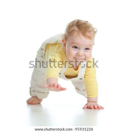 adorable boy crawls on all fours studio shot - stock photo