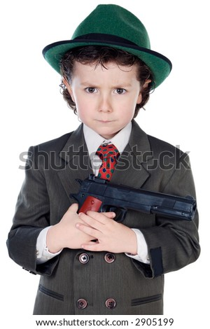 adorable boy dressed gangster a over white background - stock photo