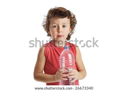 Adorable boy drinking water on a over white background - stock photo