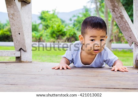 Adorable boy. Photo of adorable young boy looking at camera - stock photo