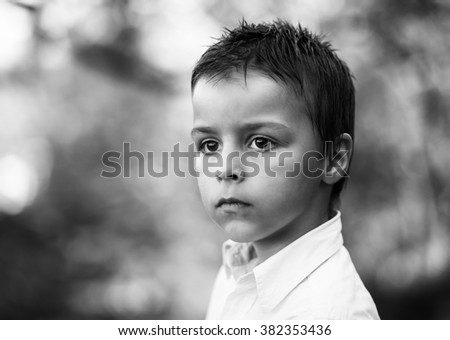 adorable boy portrait black and white photography - stock photo