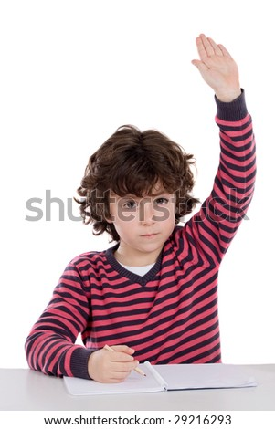 Adorable boy studying a over white background ask to speak isolated over white - stock photo
