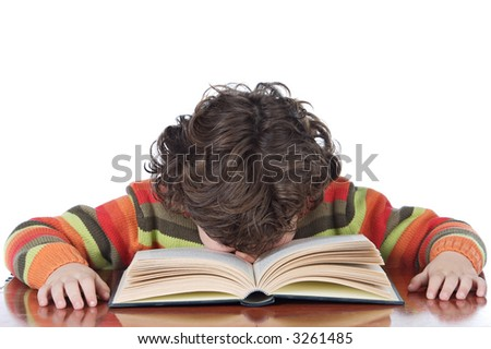 adorable boy tired to study a over white background - stock photo