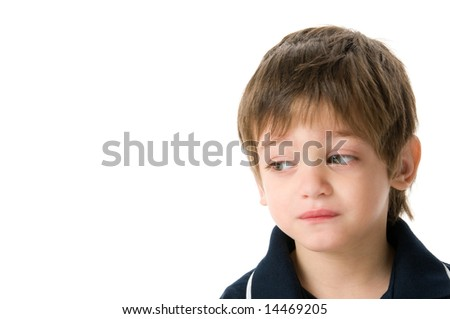 Adorable boy upset isolated on white background - stock photo