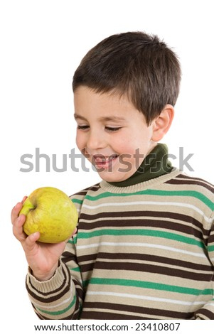 Adorable boy with a apple on a white background - stock photo