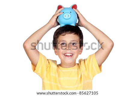 Adorable boy with a blue moneybox on his head isolated on a over white background - stock photo