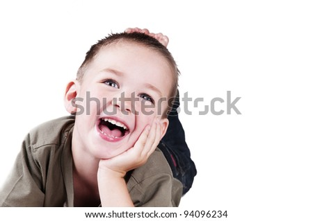 adorable boy with big smile - stock photo