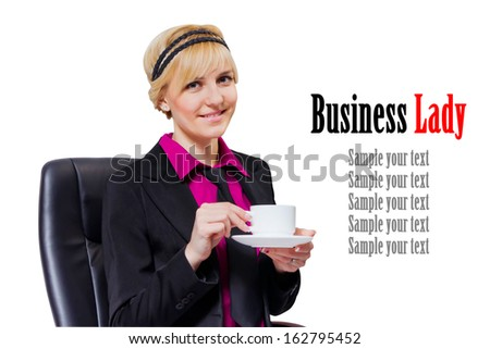 Adorable businesswoman in black suit drinking a Cup of coffee isolated on white background - stock photo