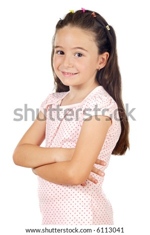adorable casual girl smiling a over white background - stock photo