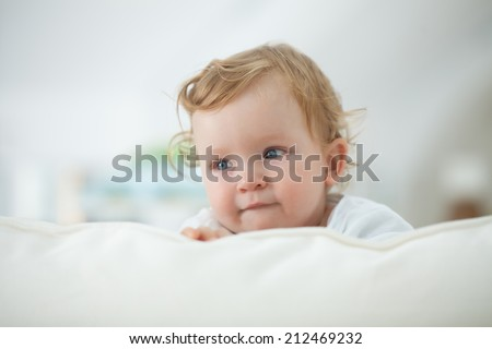 Adorable Caucasian baby boy. - stock photo