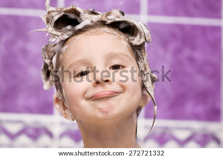 Adorable child in bath