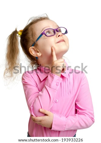 Adorable child in glasses looking up isolated on white - stock photo